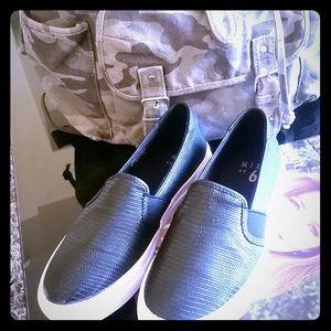 Shoes - BLACK SNAKESKIN SLIPONS